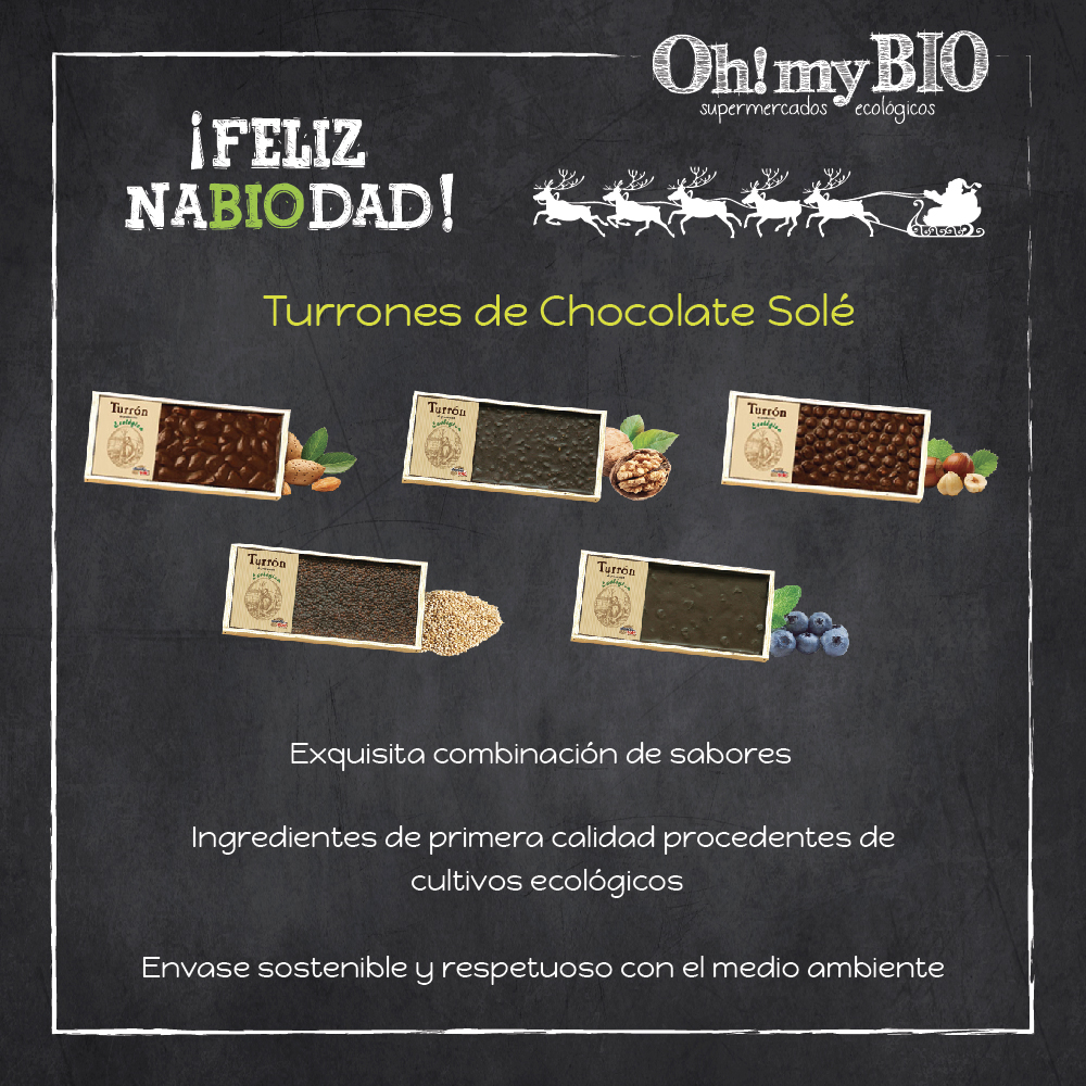Turrones de chocolate ecológicos