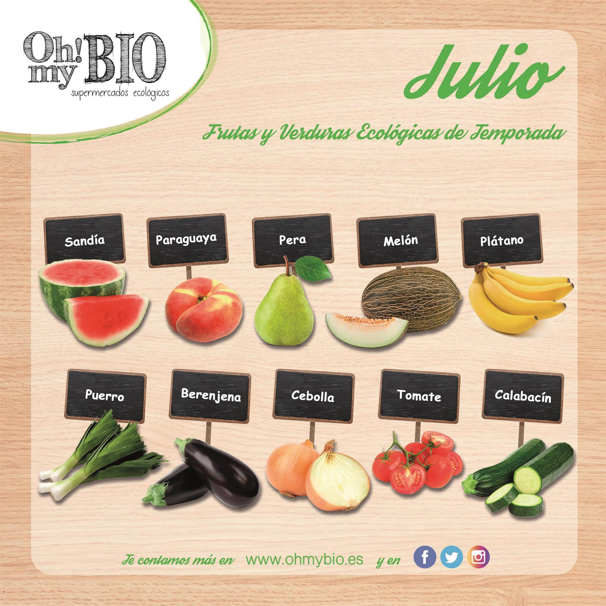 Frutas y verduras en temporada de julio